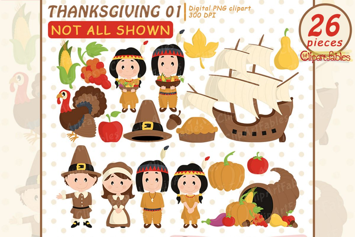 Happy Thanksgiving Day clipart, turkey, autumn art - INSTANT example image 1