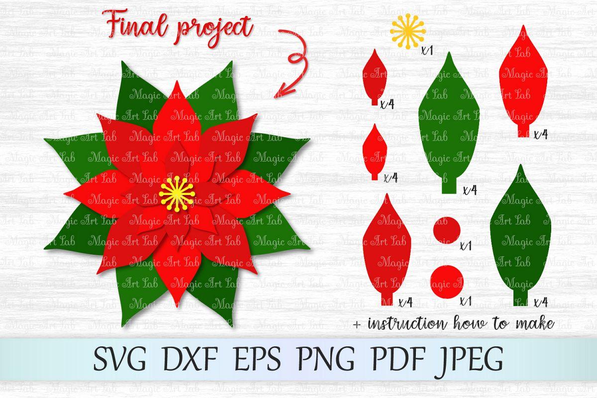 Poinsettia svg, Christmas svg, Christmas poinsettia svg example image 1