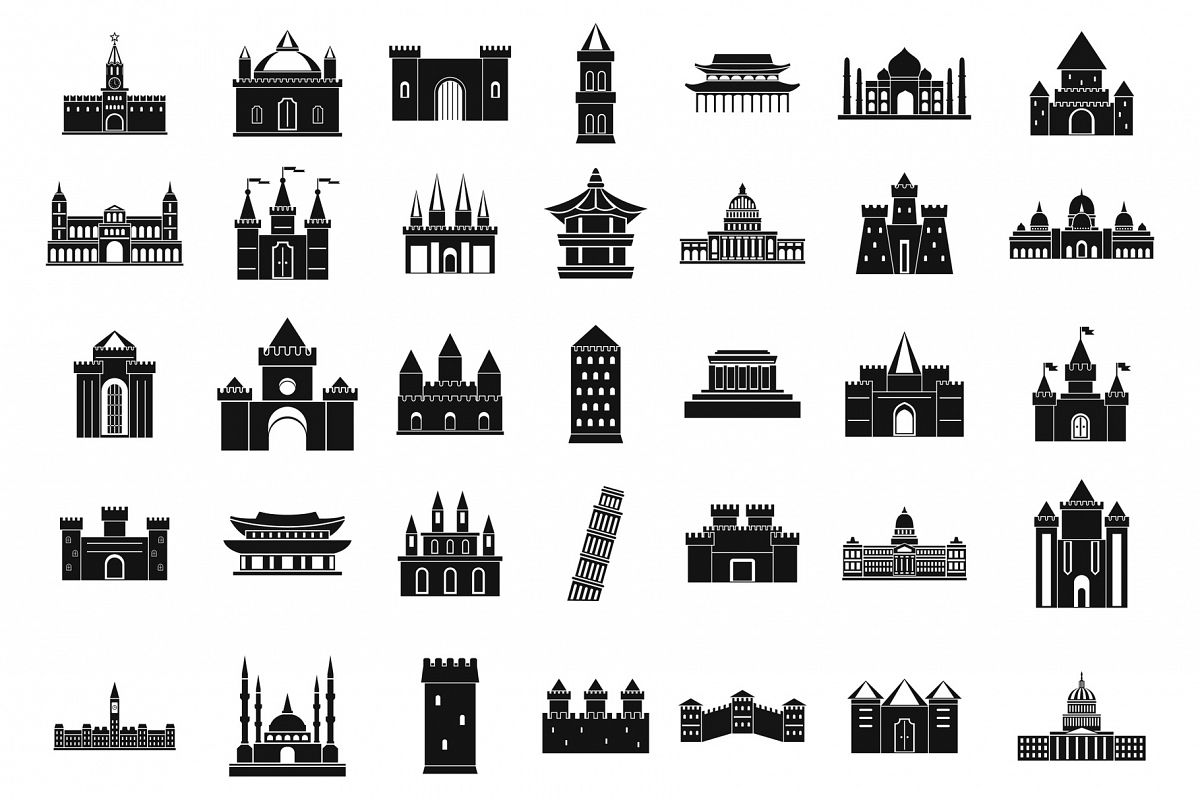 Castle icon set, simple style example image 1