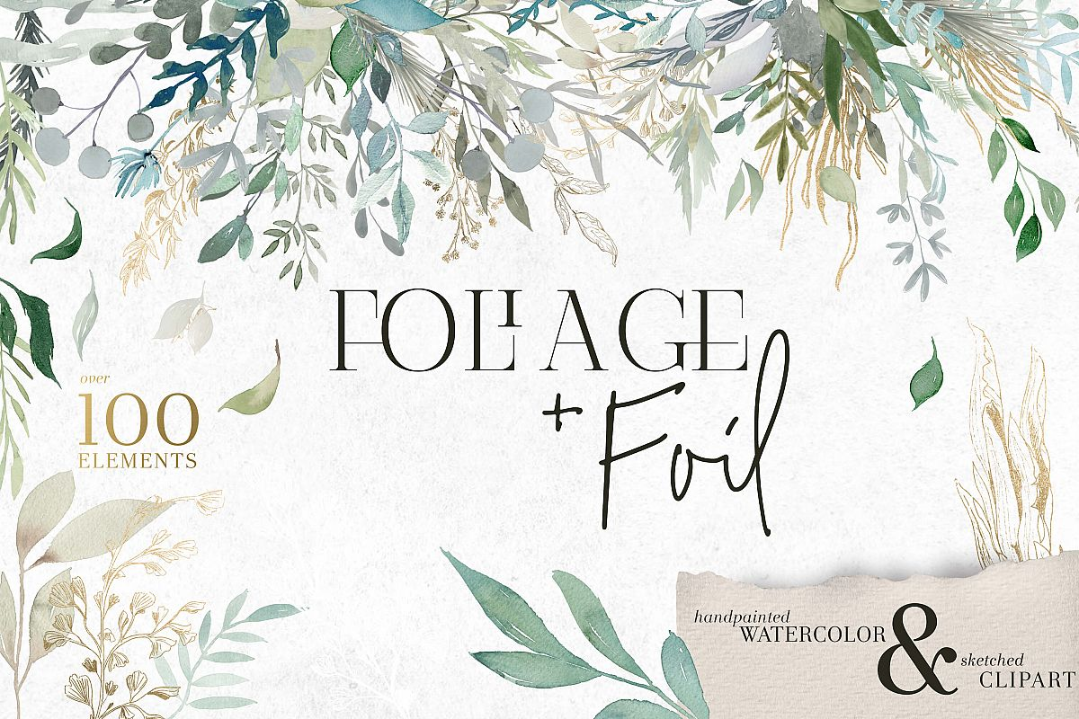 Foliage and Foil Botanical Clipart example image 1