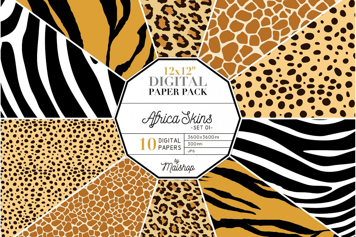 "Digital Paper Pack ""Africa Skins"" Set 01 example image 1"