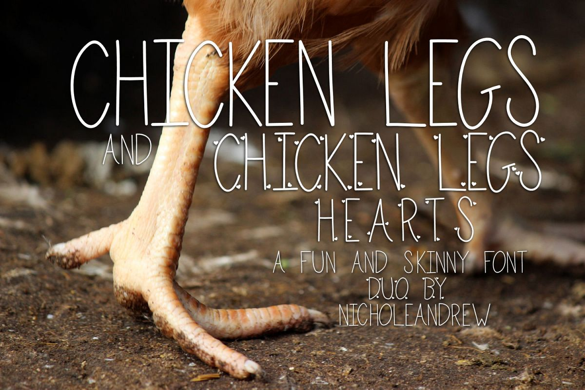 Chicken Legs and Chicken Legs Hearts Font Duo example image 1