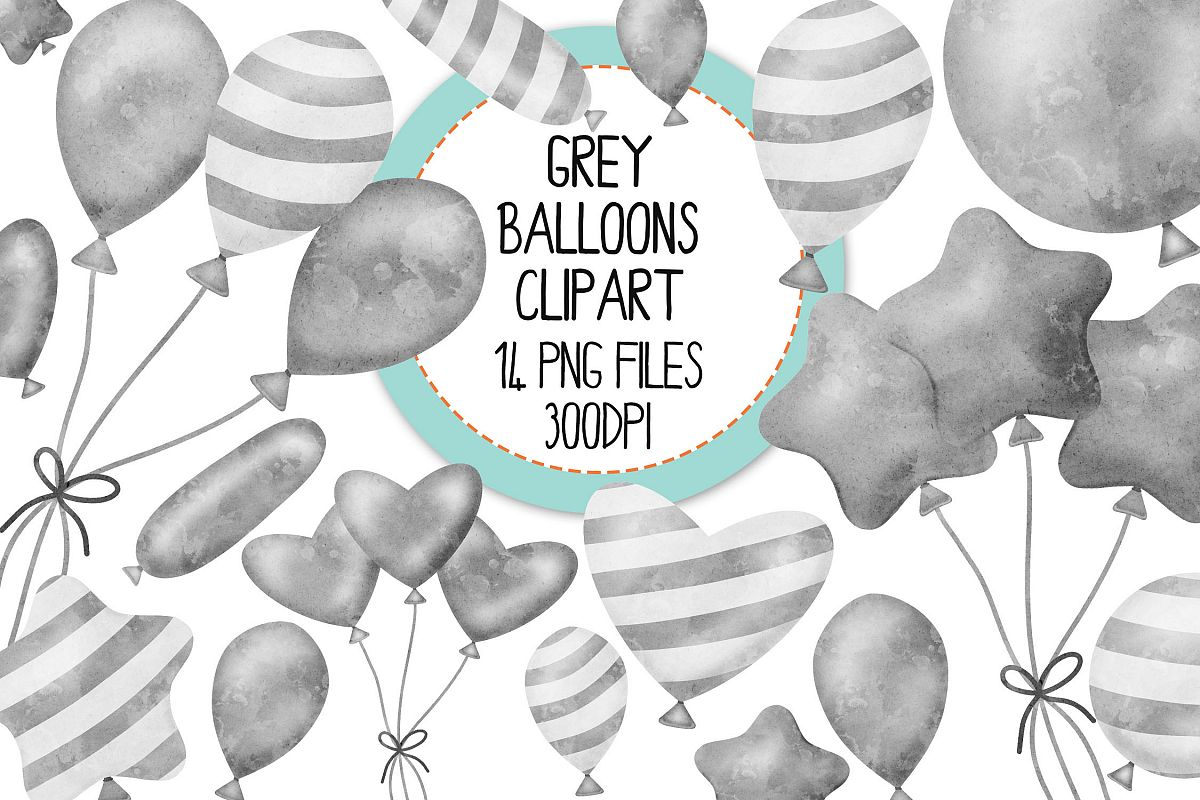 Grey Watercolor Balloon Clipart Set example image 1