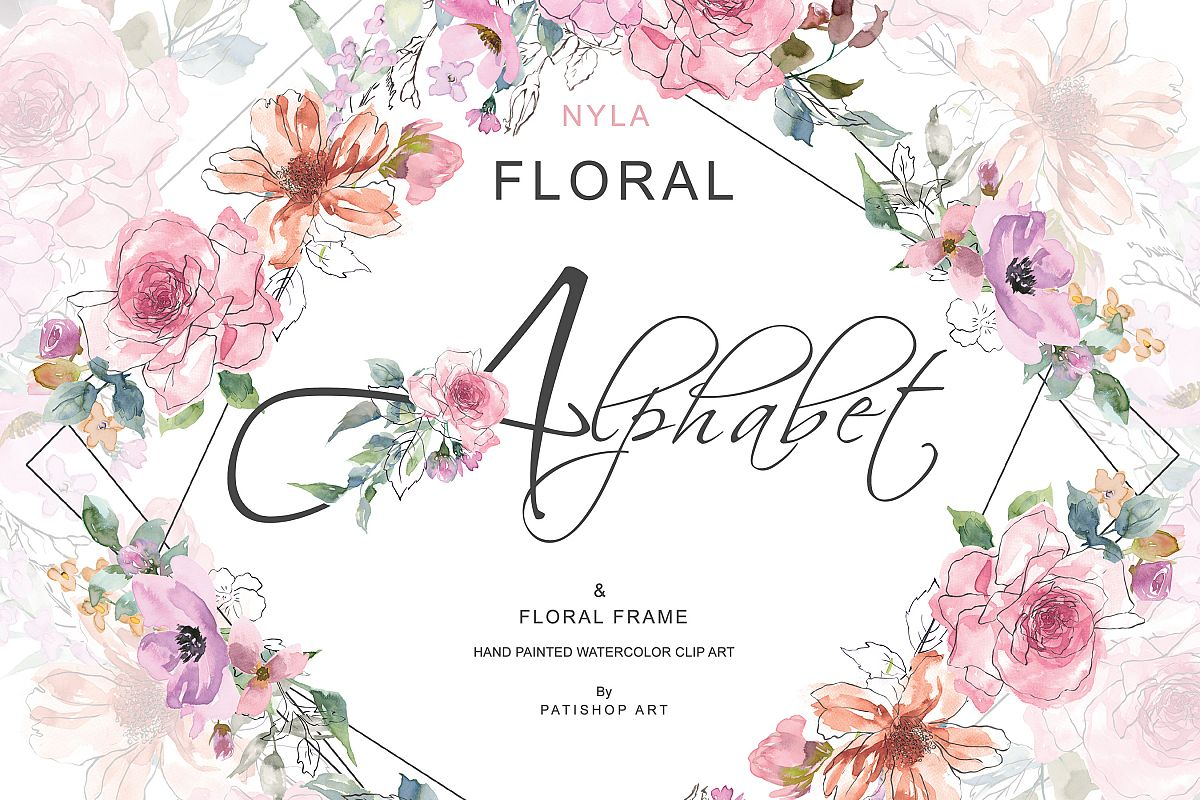 Sketch Style Pink Blush Floral Alphabet and Floral Frame