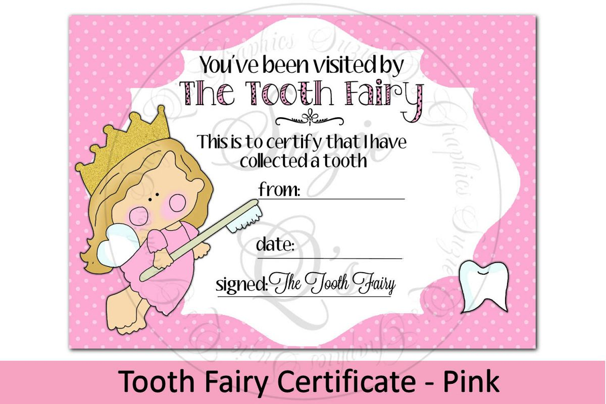 Tooth Fairy Certificate - Pink, 5 x 7 inches example image 1