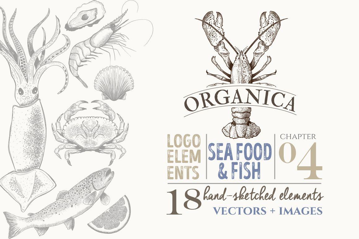ORGANIC LOGO ELEMENTS SEA FOOD & FISH example image 1