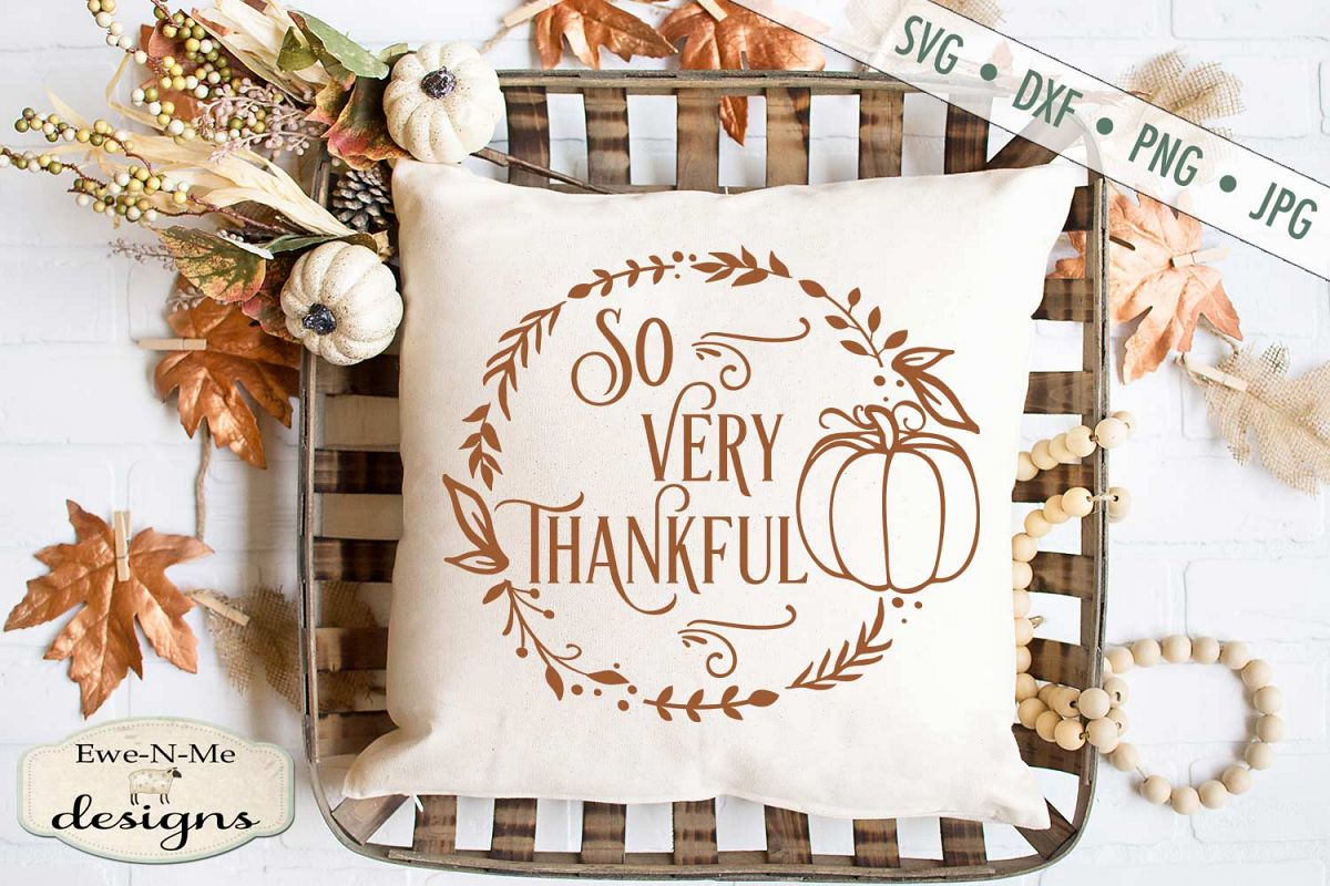 So Very Thankful - Thanksgiving - Pumpkin Wreath - SVG DXF example image 1