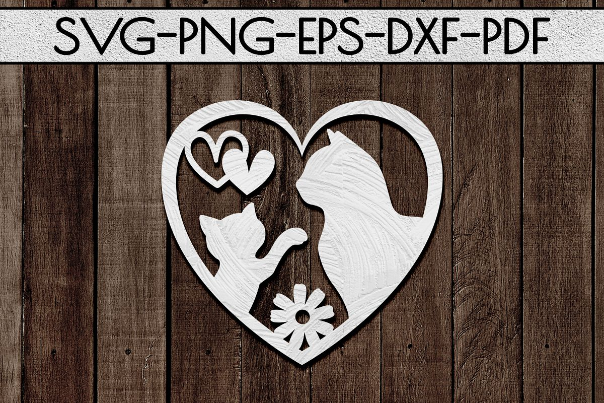 Cat Lover Sign Papercut Template, Cat House Decor, SVG, DXF example image 1