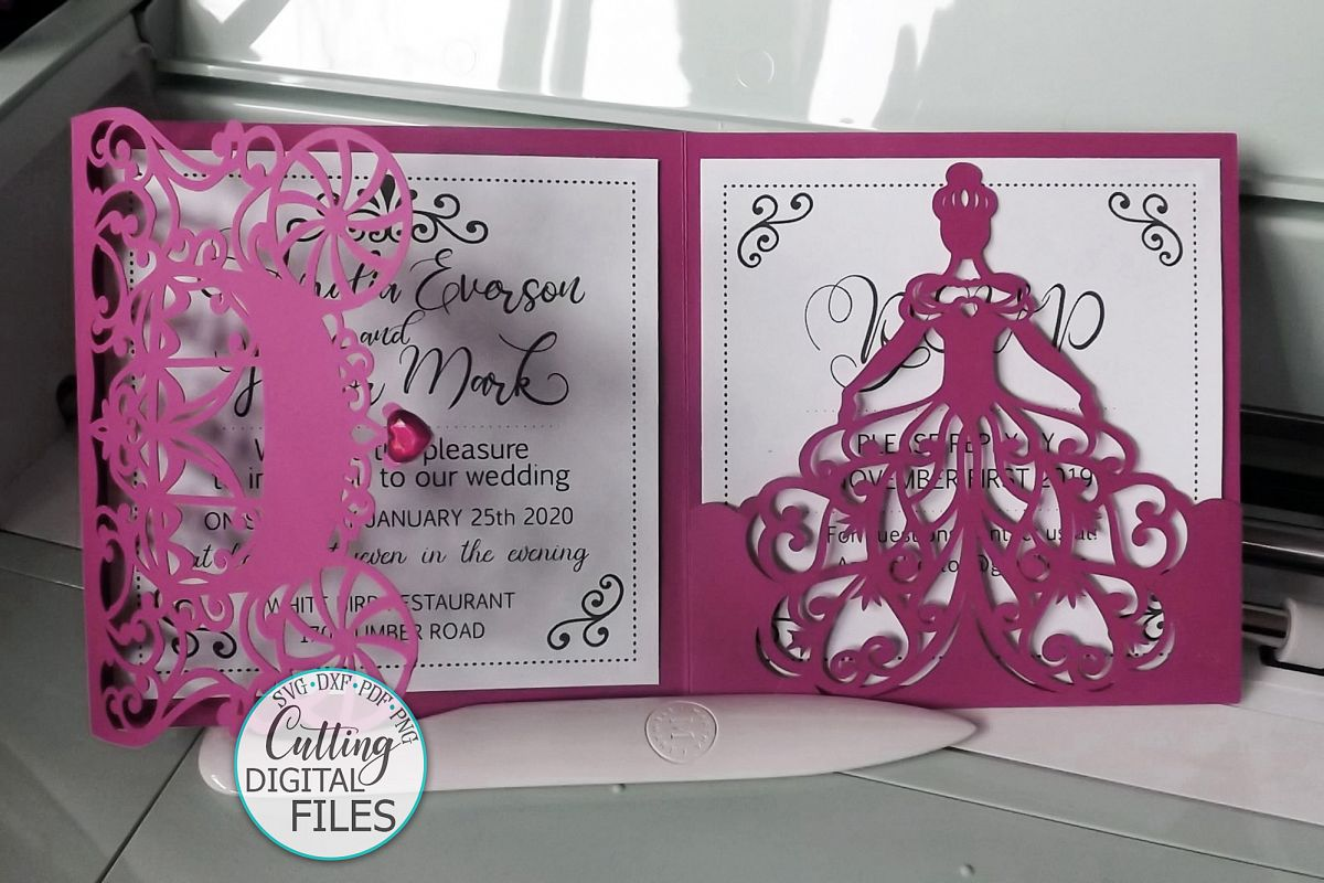 Princess 5x5 trifold envelope wedding invitation laser cut example image 1