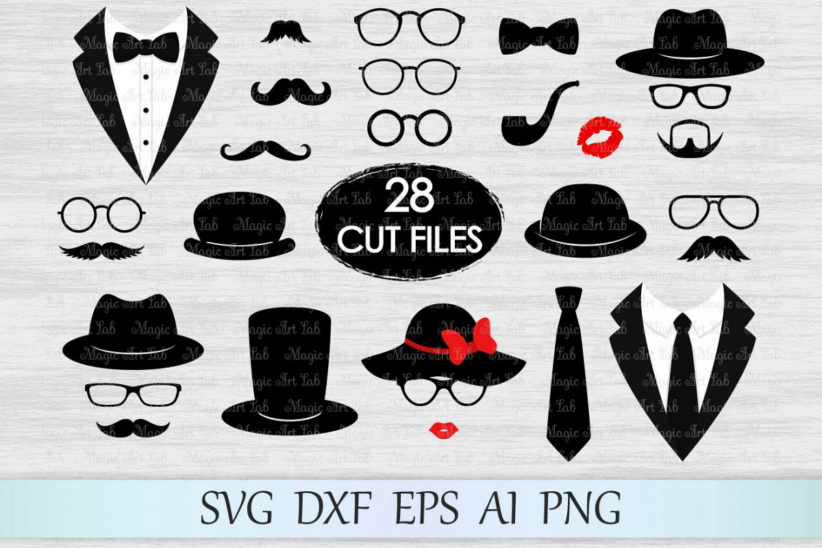 Photo booth props svg, Mustaches svg, Glasses svg, Tuxedo svg, Hats svg,  Smoking pipe svg, Retro svg, Lips svg, Tuxedo clipart, Gentleman svg