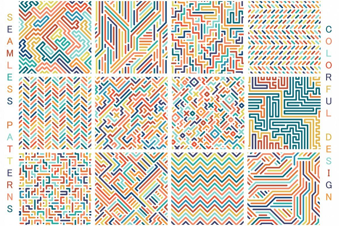 Colorful seamless vector patterns. example image 1