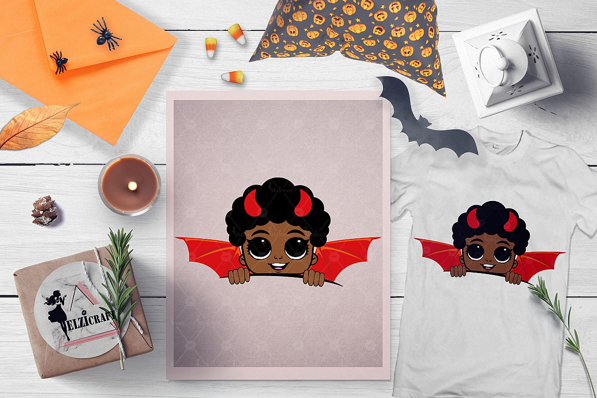Halloween Afro Peeking Little Devil Boy SVG Cut File example image 1