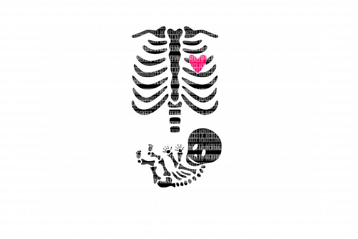 Skeleton Baby SVG File, SVG Files for Cameo and Cricut Design Space, Iron on Decal, Printable Transfer, DXF Commercial Use, example image 1