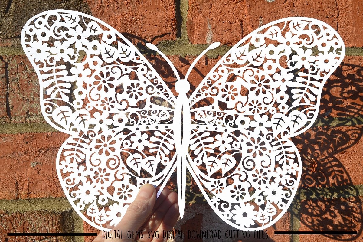 Butterfly paper cut SVG / DXF / EPS files example image 1