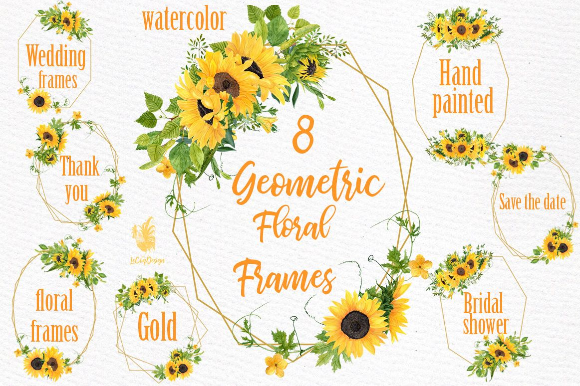 Geometric Sunflower Floral Frames Clipart