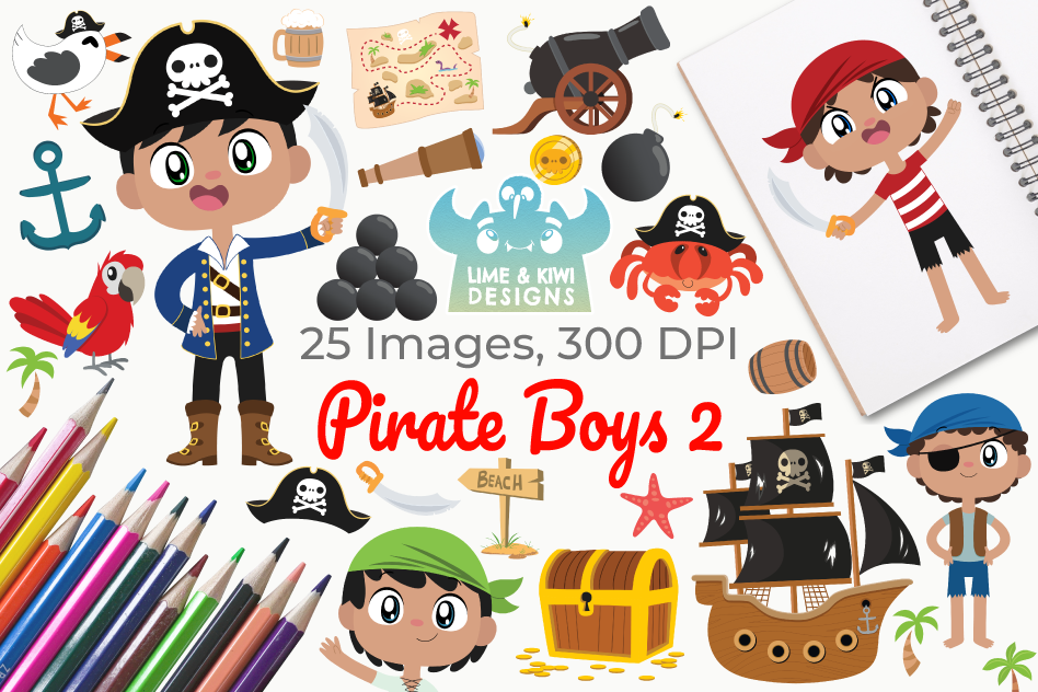 Pirate Boys 2 Clipart, Instant Download Vector Art example image 1