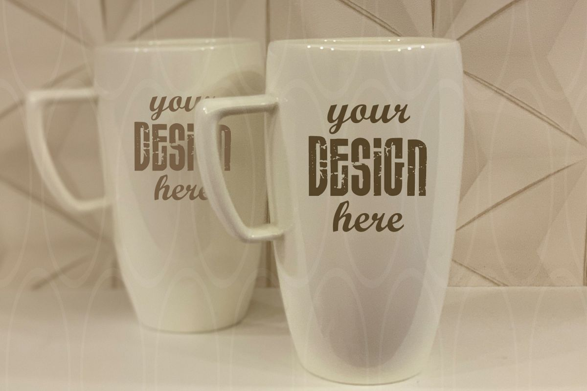 Mugs mock up Styled Stock Photography Blank White Coffee example image 1