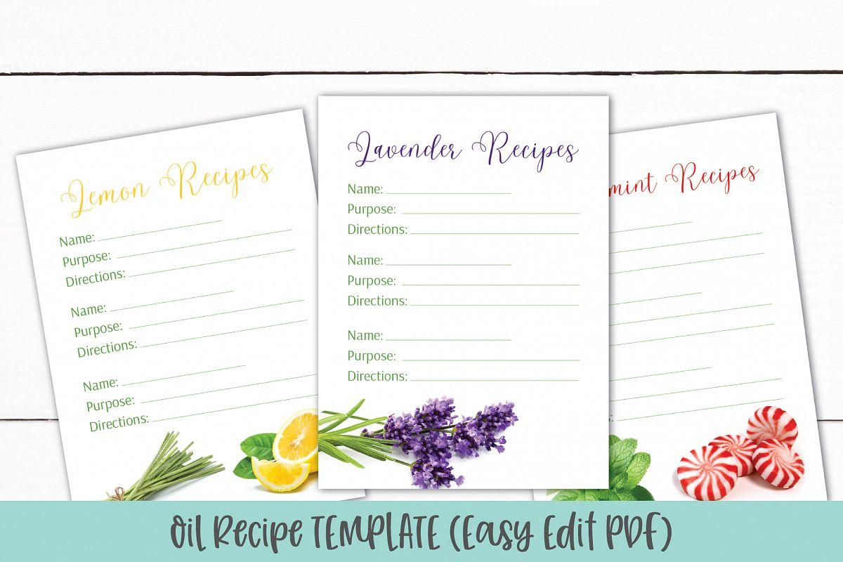 Essential Oil Recipe Card Template | Editable Recipe PDF