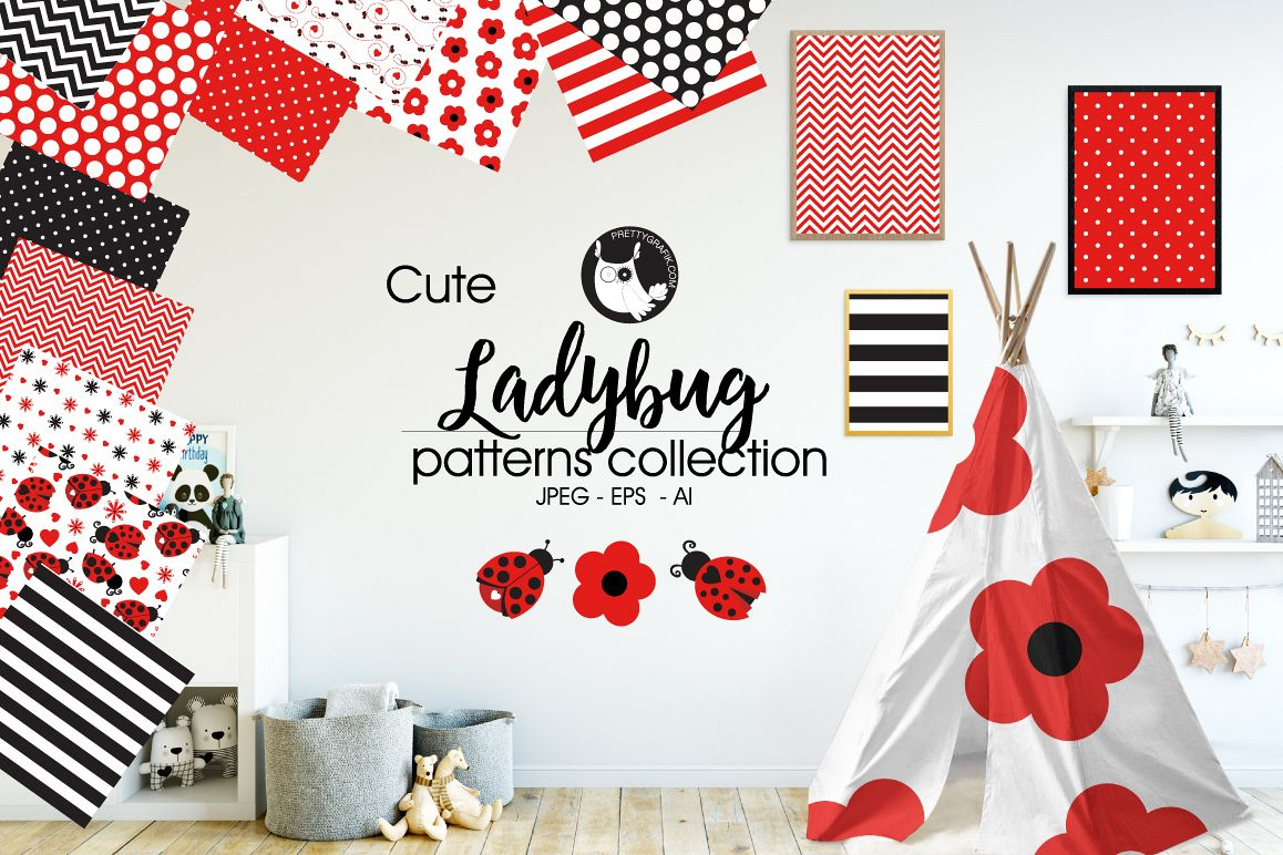 Lady Bug, digital papers example image 1