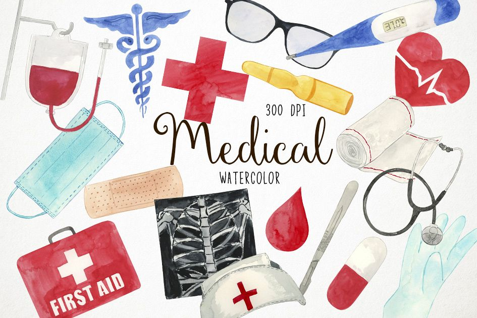 Watercolor Medical Clipart, Doctor Clipart, Health Clipart example image 1