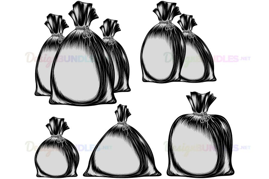 Vector Sack Bag Rope Monochrome Sketch Ink Hand Drawing Group Set example image 1