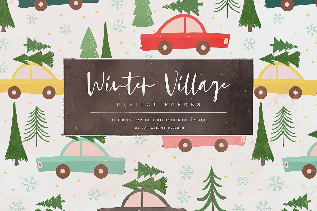 Winter Village Digital Papers example image 1