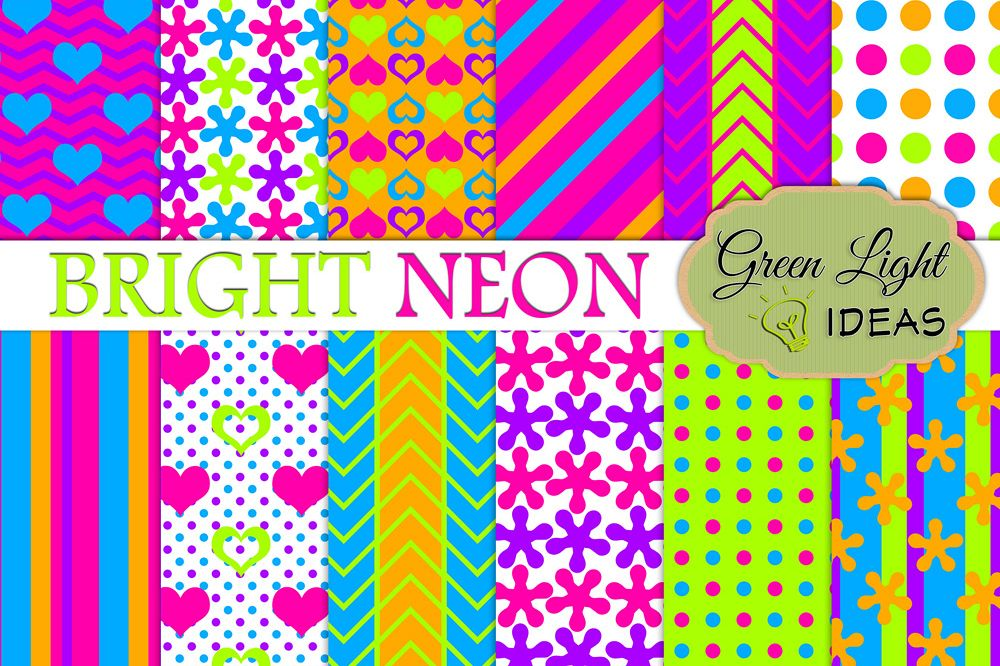 Bright Neon Digital Papers example image 1