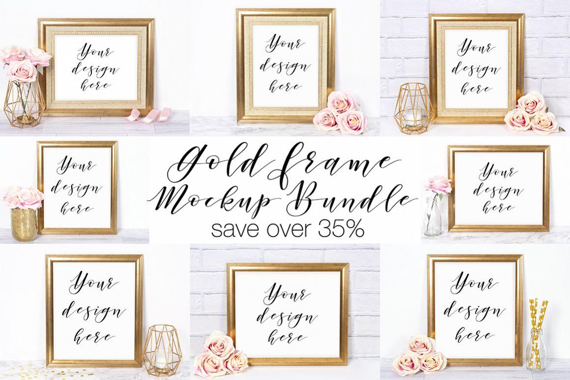Gold Frame Mockup Bundle by Doodle and | Design Bundles