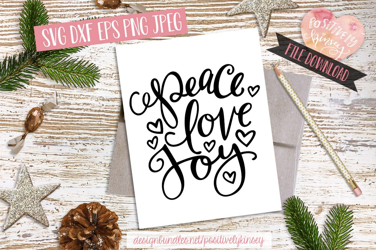 Christmas Quote SVG DXF PNG EPS Peace Love Joy SVG Design example image 1