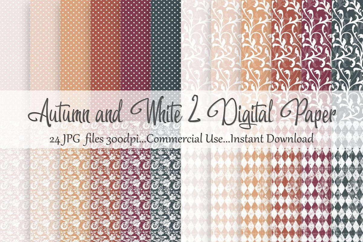 Autumn Fall White 2 Digital Paper example image 1