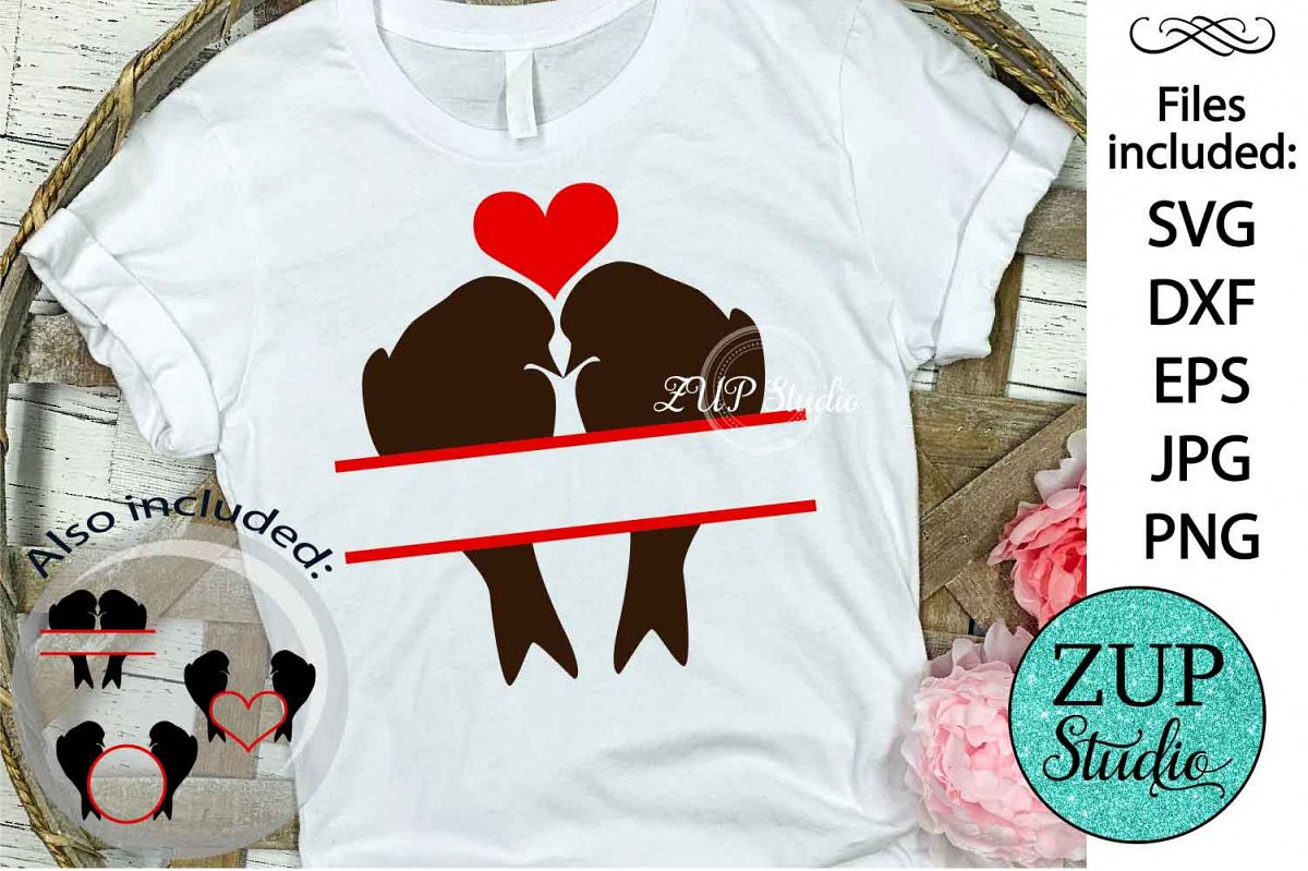 Birds in love cutting files svg 1 example image 1