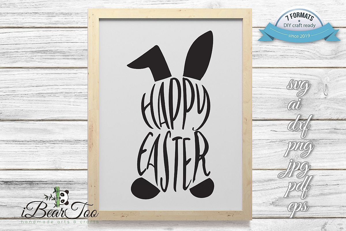 Happy Easter Bunny SVG Rabbit Black Clipart Vector Cut Files example image 1