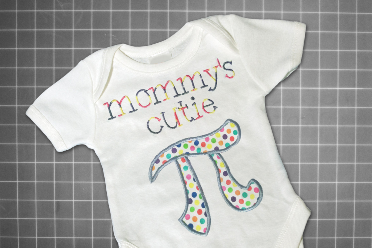 Mommy's Cutie Pi Symbol Applique Embroidery Design example image 1