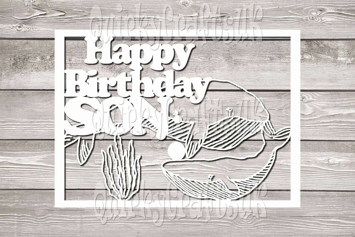 Happy birthday Whales/SON papercutting template example image 1