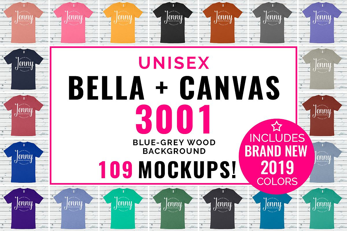 Bella Canvas 3001 Unisex Mockup Bundle, 109 Mockups example image 1