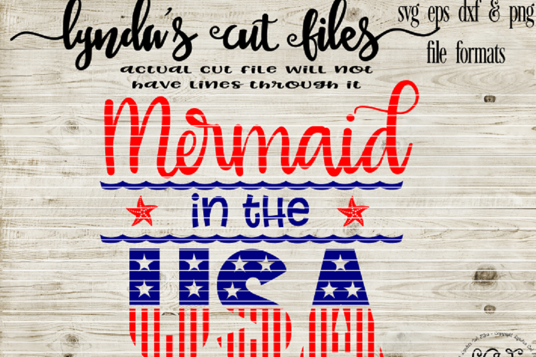 Mermaid in the USA//Summer//SVG//DXF//EPS example image 1