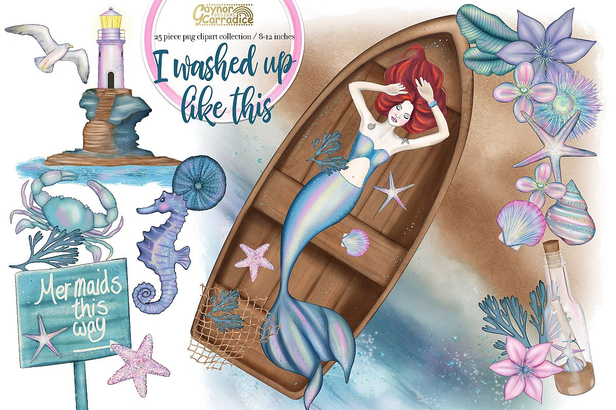 I washed up like this - watercolor Mermaid Clipart collectio example image 1