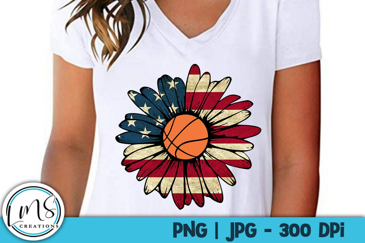 Patriotic Sunflower - Basketball PNG, JPG, Sublimation example image 1