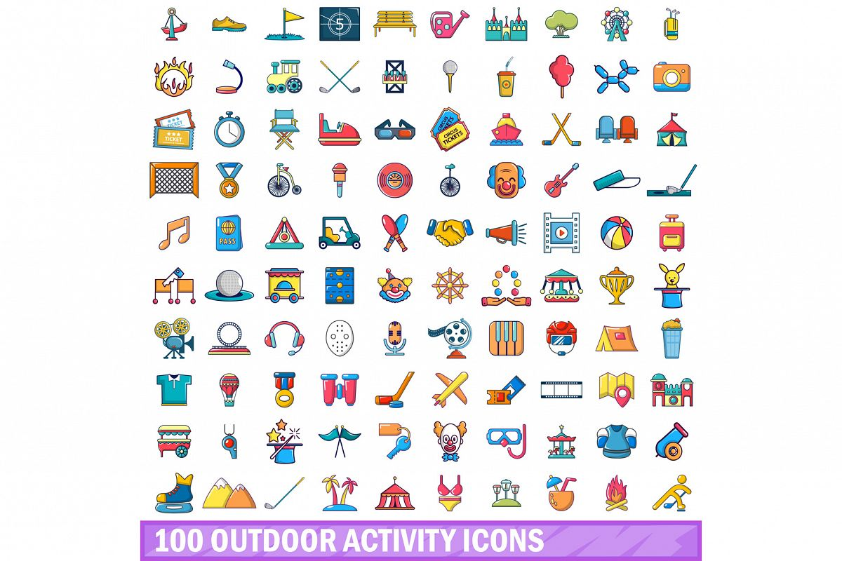 100 outdoor activity icons set, cartoon style example image 1
