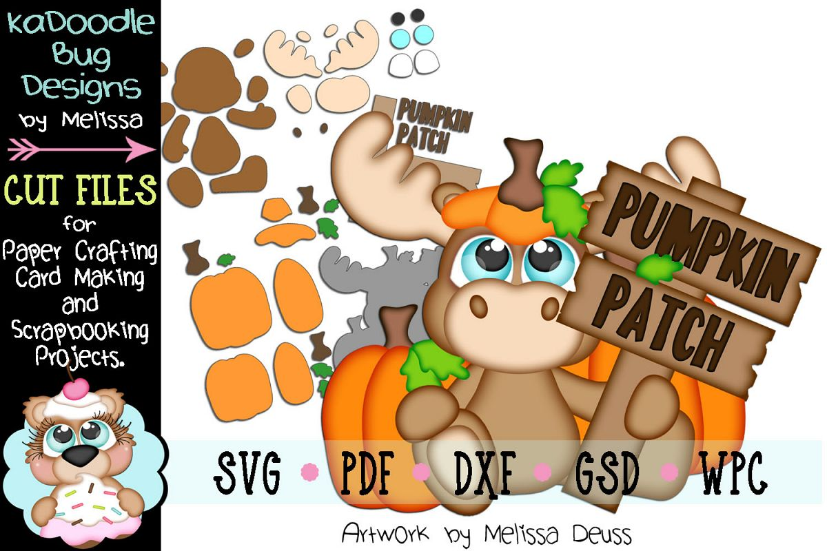 Fall Pumpkin Patch Moose Cut File - SVG PDF DXF GSD WPC example image 1