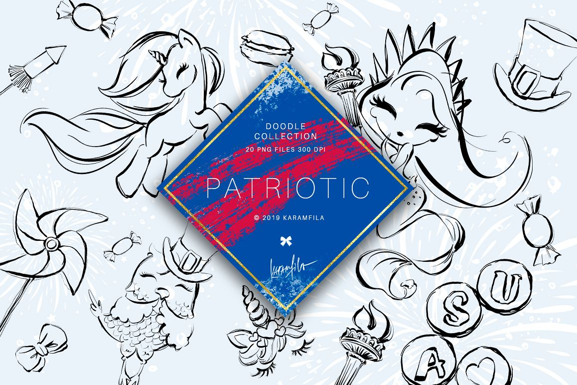 4th of July Mermaid Unicorn Doodle Clipart example image 1