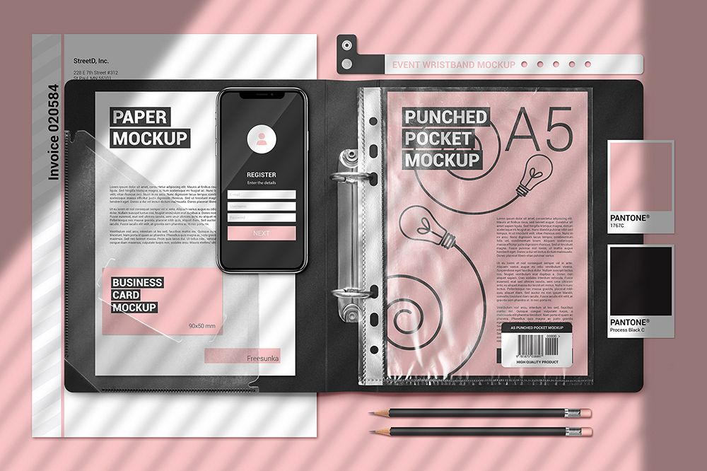 A5 Papers In Plastic Folder Scene Mockup example image 1