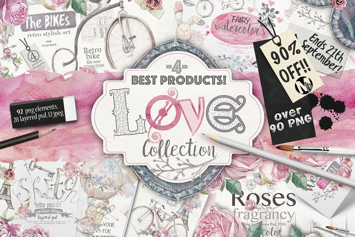 90%OFF ! Love collection 90 PNG elements example image 1