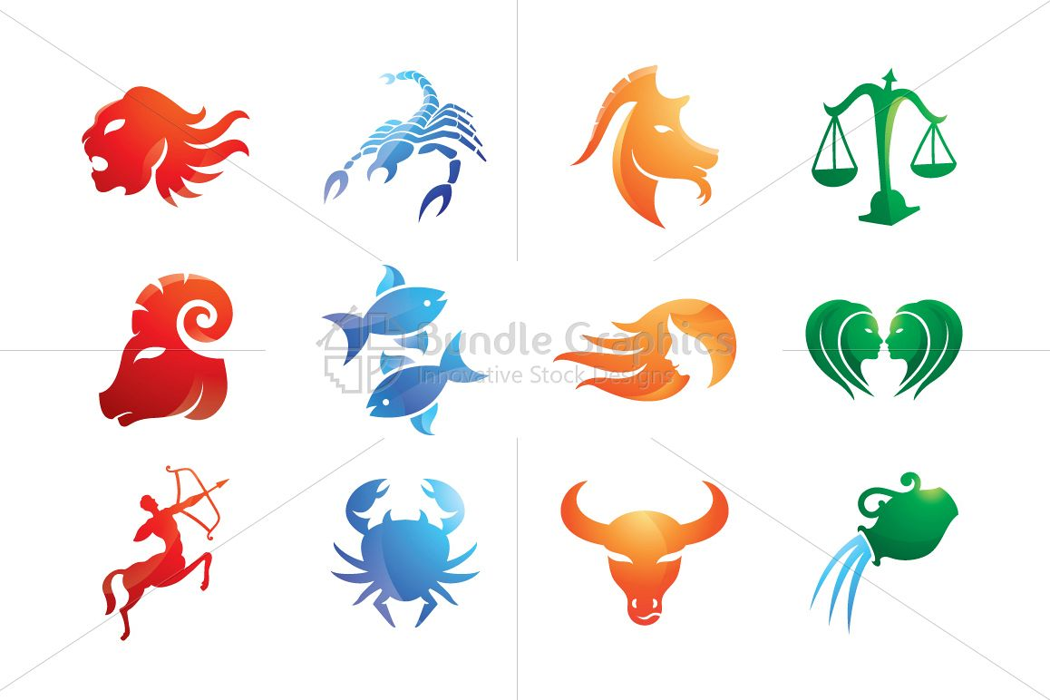 Tribal Style Zodiac Signs - Iconic Set example image 1