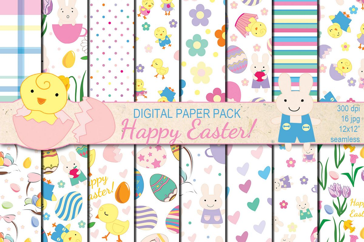 Happy Easter seamless digital paper pack example image 1