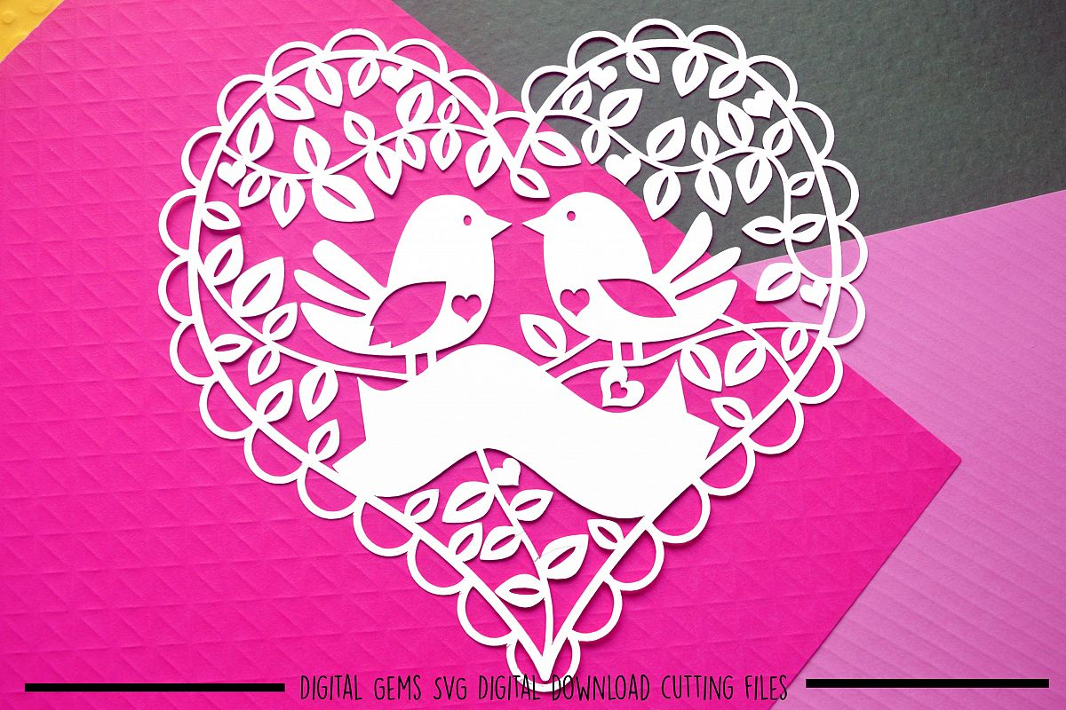Bird heart paper cut SVG / DXF / EPS files example image 1