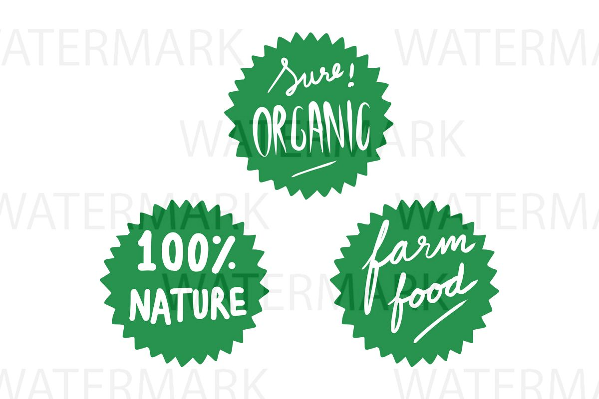 Sure Organic 100% Nature Farm Food  - SVG/JPG/PNG - Hand Drawing example image 1
