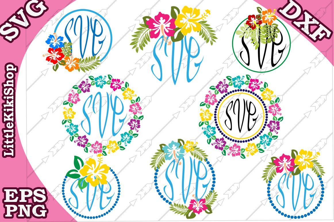 Floral Monogram Svg,Hibiscus monogram,Hawaii Svg example image 1