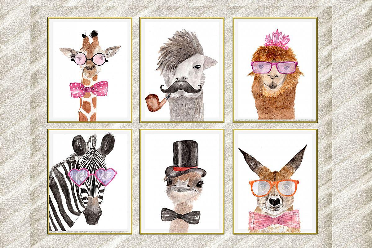 Safari animals posters , Watercolor animals, African animals example image 1