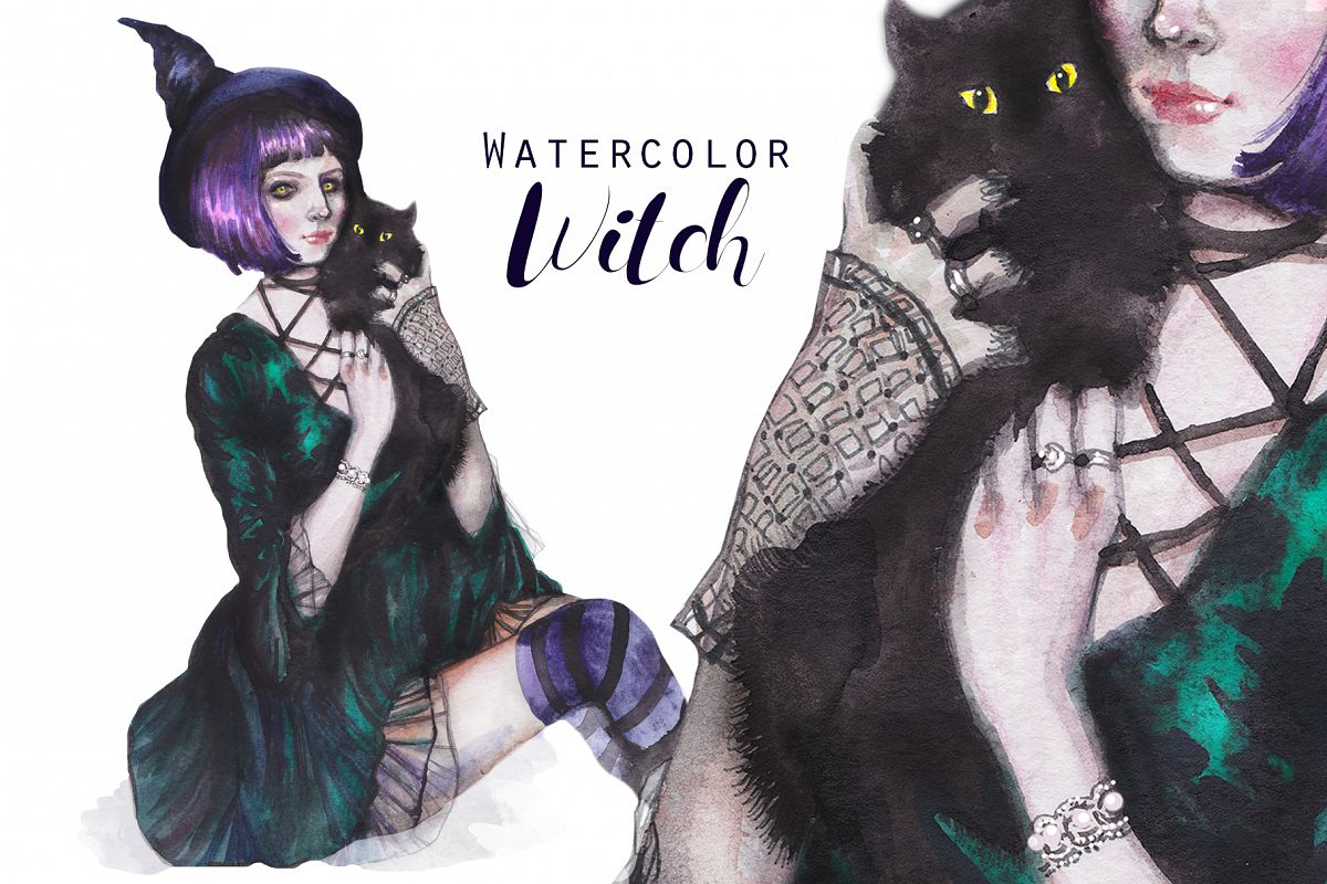 Halloween witch with black cat, watercolor portrait example image 1